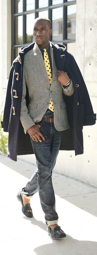 How to wear: navy duffle coat, grey herringbone wool blazer, navy and green plaid long sleeve shirt, navy jeans