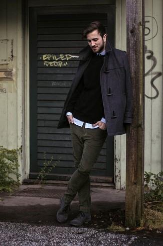 Men's Charcoal Duffle Coat, Black Crew-neck Sweater, Light Blue Long Sleeve Shirt, Olive Corduroy Jeans