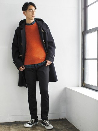 How to wear: black duffle coat, orange crew-neck sweater, navy and green plaid long sleeve shirt, charcoal chinos