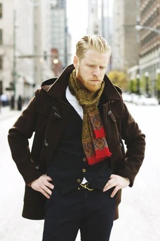 How to wear: dark brown duffle coat, black waistcoat, white dress shirt, black dress pants