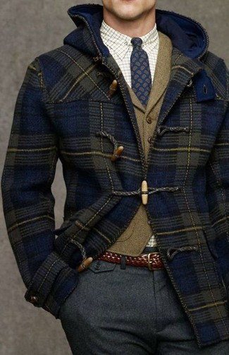 How to wear: navy duffle coat, olive wool waistcoat, white check dress shirt, charcoal wool dress pants