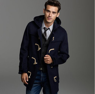 How To Wear Blue Jeans With a Navy Duffle Coat | Men's Fashion