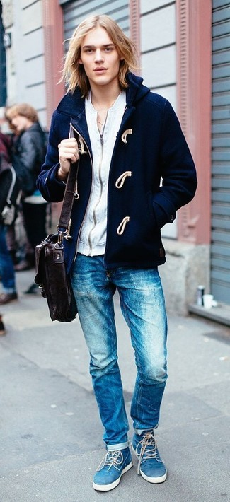 How to wear: navy duffle coat, grey zip sweater, blue jeans, blue suede desert boots