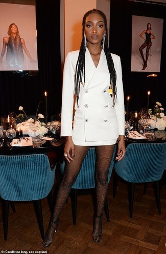 How to wear: black embellished tights, silver earrings, clear rubber heeled sandals, white tuxedo dress