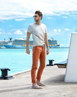 How to wear: white woven canvas belt, white horizontal striped canvas espadrilles, orange chinos, white crew-neck t-shirt