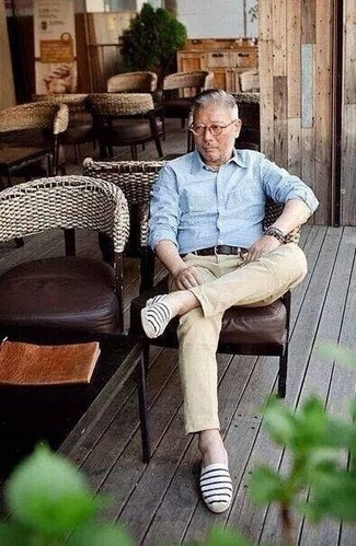 How to Wear Khaki Jeans For Men: A light blue check long sleeve shirt and khaki jeans are among those game-changing menswear items that can refresh your wardrobe. When not sure as to the footwear, stick to a pair of navy and white horizontal striped canvas espadrilles.