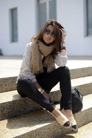 How to wear: black leather tote bag, tan leather espadrilles, black leggings, white lace crew-neck sweater
