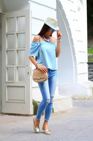 How to wear: tan suede crossbody bag, gold espadrilles, light blue ripped skinny jeans, light blue off shoulder top