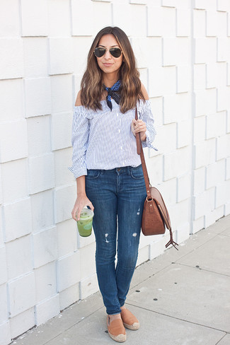 How To Wear Skinny Jeans With Espadrilles: This combo of a blue vertical striped off shoulder top and skinny jeans makes for the perfect foundation for a laid-back outfit. This look is complemented wonderfully with espadrilles.