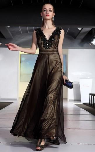 How to wear: dark brown embellished mesh evening dress, dark brown suede heeled sandals, navy clutch, silver bracelet