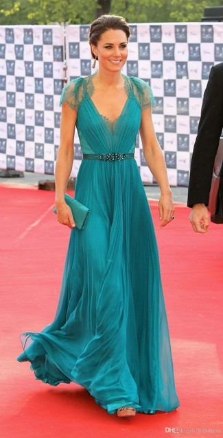 How to wear: mint pleated lace evening dress, gold leather heeled sandals, mint satin clutch, silver earrings