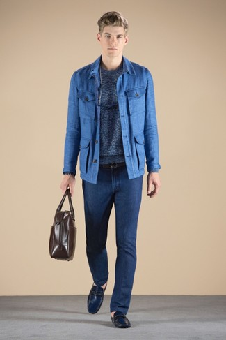 How to wear: blue field jacket, blue crew-neck sweater, navy jeans, navy leather driving shoes