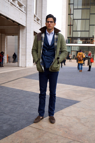 How to wear: olive field jacket, navy double breasted blazer, white dress shirt, navy dress pants