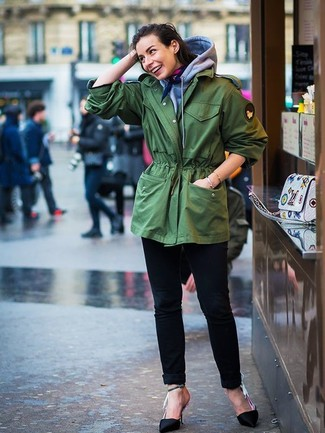 How to wear: green fishtail parka, grey hoodie, black jeans, black satin pumps