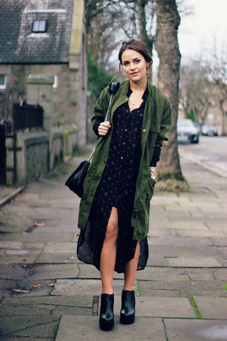 How to wear: olive fishtail parka, black polka dot shirtdress, black chunky leather ankle boots, black leather crossbody bag