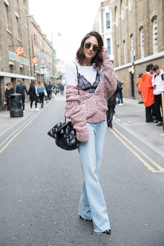 How to wear: black leather pumps, light blue flare jeans, white and black lace crew-neck t-shirt, pink fleece bomber jacket