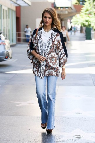 How to wear: brown chunky leather heeled sandals, light blue flare jeans, white crew-neck t-shirt, white print kimono