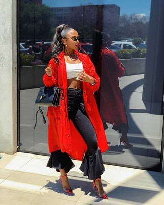 How to wear: red leather pumps, black flare jeans, white cropped top, red duster coat