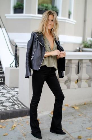 How to wear: black suede pumps, black flare jeans, olive dress shirt, black leather biker jacket