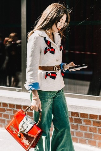 How to wear: red print leather satchel bag, green flare jeans, blue dress shirt, white tweed jacket