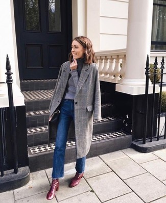 How to wear: burgundy leather ankle boots, blue flare jeans, grey turtleneck, grey plaid coat