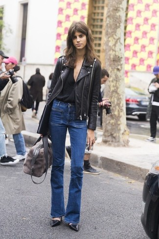 How to wear: black leather pumps, blue flare jeans, black v-neck t-shirt, black leather biker jacket