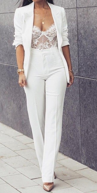 How to wear: beige leather pumps, white flare pants, white lace bustier top, white blazer
