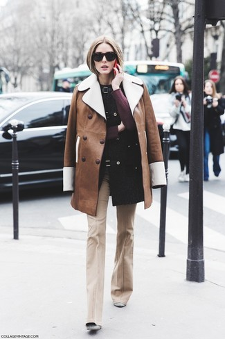 How to wear: grey suede ankle boots, beige flare pants, burgundy crew-neck sweater, brown shearling coat
