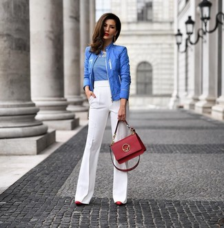 How to wear: red leather pumps, white flare pants, white and blue horizontal striped crew-neck t-shirt, blue bomber jacket