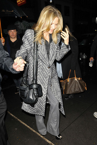 How to wear: black leather wedge sandals, grey flare pants, black silk dress shirt, grey herringbone coat