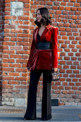 How to wear: black leather ankle boots, black flare pants, black tank, red velvet blazer