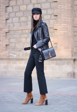 How to wear: brown suede ankle boots, black flare pants, black turtleneck, black leather biker jacket