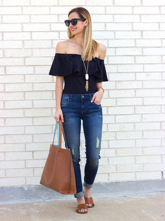 How to wear: brown leather tote bag, brown leather flat sandals, blue ripped jeans, black ruffle off shoulder top