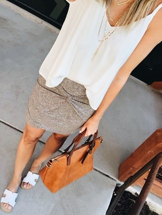 How to wear: tobacco leather tote bag, white leather flat sandals, grey mini skirt, white chiffon sleeveless top