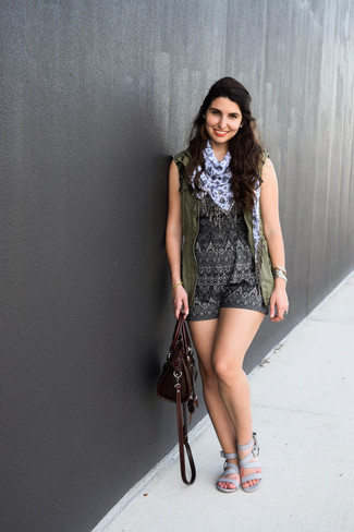 How to wear: burgundy leather satchel bag, grey leather flat sandals, charcoal geometric playsuit, olive vest