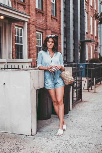 How to wear: tan straw bucket bag, white leather flat sandals, light blue shorts, light blue silk dress shirt