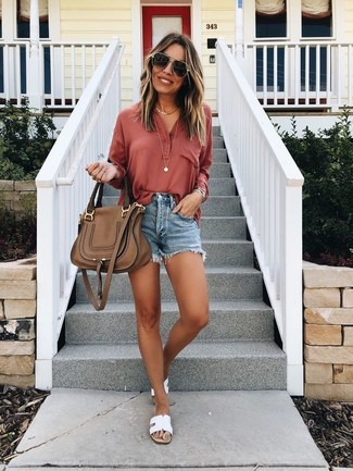 How to wear: brown leather satchel bag, white leather flat sandals, blue denim shorts, red henley shirt