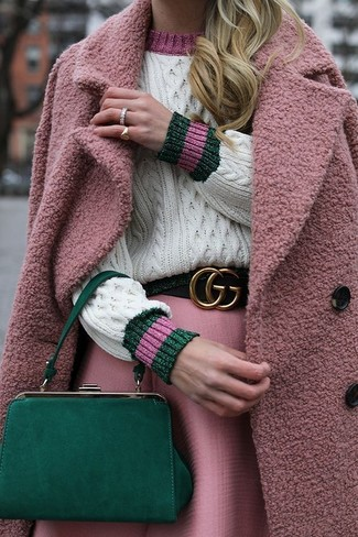 How to wear: green leather clutch, pink full skirt, white cable sweater, pink coat