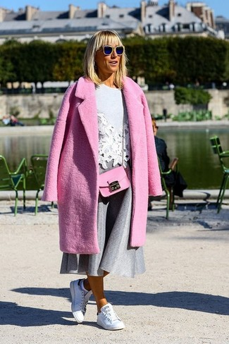 How to wear: white leather low top sneakers, grey full skirt, grey embroidered crew-neck sweater, hot pink coat