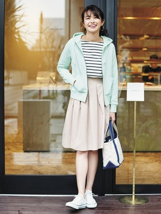 How to wear: white canvas low top sneakers, beige full skirt, white and navy horizontal striped crew-neck t-shirt, mint hoodie
