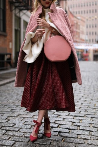 How to wear: red suede pumps, red textured full skirt, white ruffle long sleeve blouse, pink coat