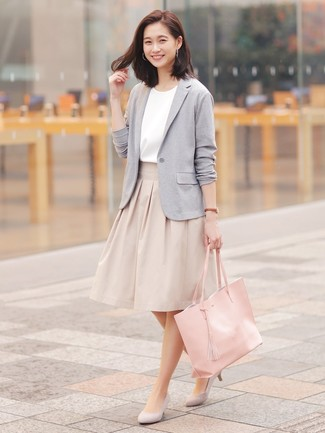 How to wear: grey suede pumps, beige full skirt, white short sleeve blouse, grey knit blazer