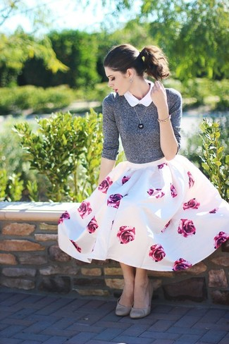 How to wear: grey leather ballerina shoes, white and pink floral full skirt, white short sleeve button down shirt, grey crew-neck sweater