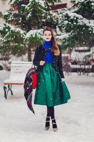 How to wear: brown leopard leather pumps, green full skirt, blue turtleneck, black knit biker jacket
