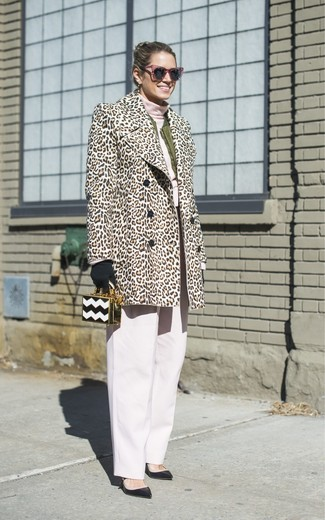 How to wear: beige leopard fur coat, olive bomber jacket, pink turtleneck, white wide leg pants