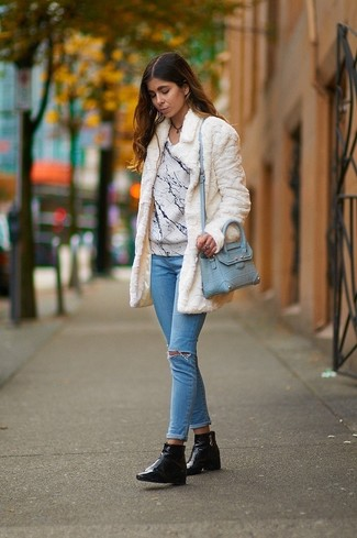 Women's White Fur Coat, White Print Crew-neck Sweater, Light Blue Ripped Skinny Jeans, Black Leather Ankle Boots