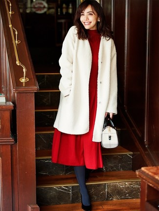 How to wear: white fur coat, red knit wool midi dress, black leather pumps, white leather satchel bag