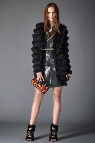 How to wear: black fur coat, black and white print shift dress, black fur heeled sandals, black print leather clutch