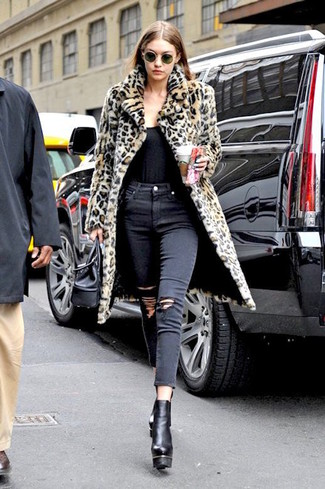 How to wear: tan leopard fur coat, black tank, black ripped skinny jeans, black chunky leather ankle boots