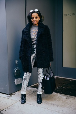 How to wear: black fur coat, grey turtleneck, silver leather jeans, black leather ankle boots
